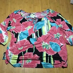 JM Collection Tropical floral blouse 1X